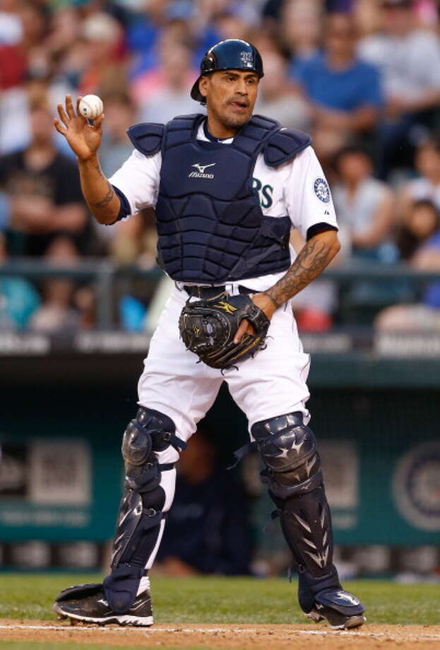Henry Blanco | Grade: C+ catcher  The 41-year-old veteran of 16 MLB seasons joined the Mariners just in June, replacing Kelly Shoppach as the backup catcher once prospect Mike Zunino arrived. Blanco hit a homer in his first game, but since has been unremarkable at the plate. Behind the plate, though, he has lots of experience and brings leadership to the clubhouse.  Average: .200 | On-base: .368 | Slugging: .400 | At-bats: 15 | Games: 6 Hits: 3 | RBI: 4 | Strikeouts: 5 | Doubles: 0 | Triples: 0 | Home runs: 1  Photo: Otto Greule Jr, Getty Images / 2013 Otto Greule Jr