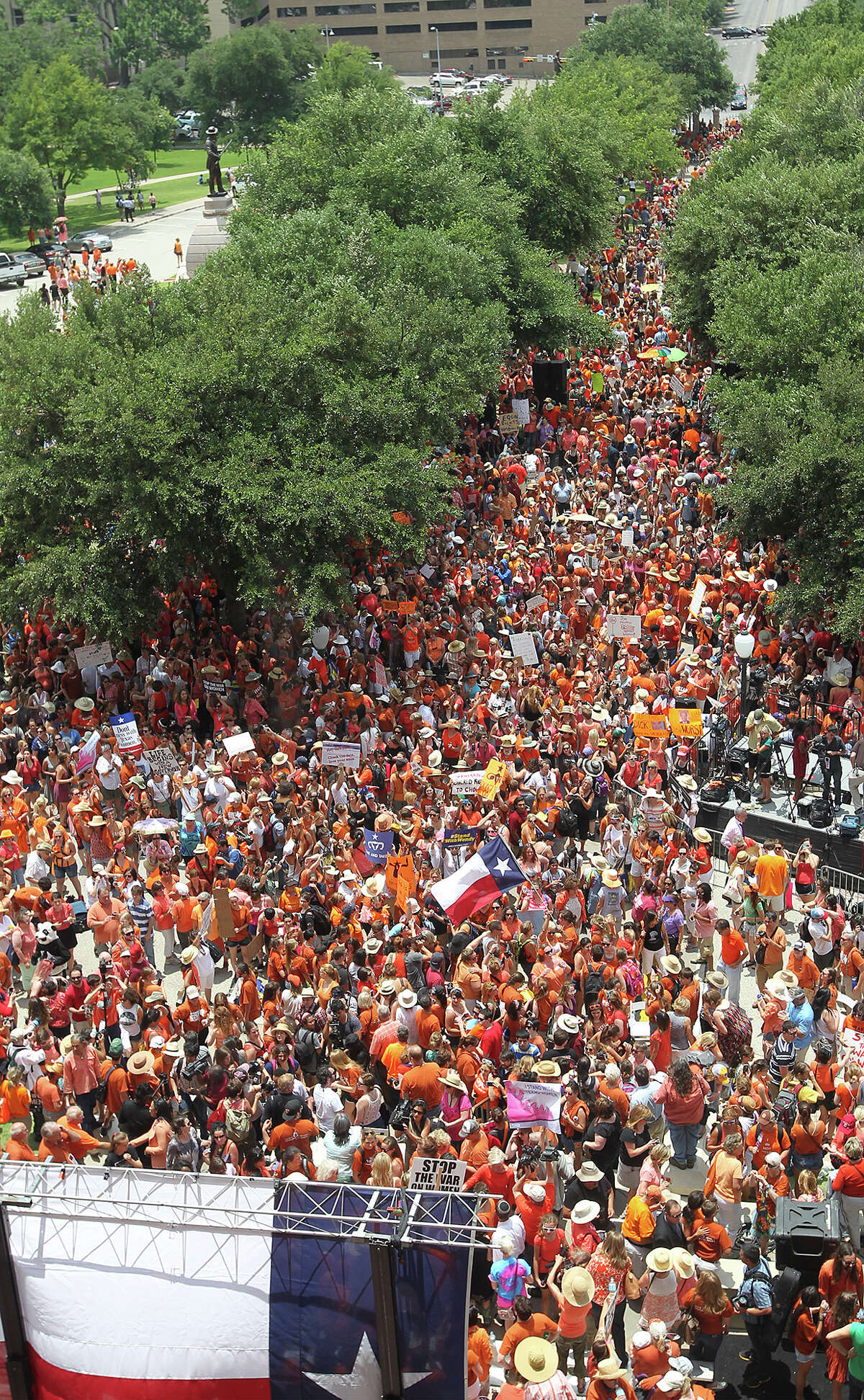 Thousands are drawn to the Stand Up With Texas Women Rally at State Capitol before the start of the second special session, Monday, July 1, 2013. The anti-abortion legislation rally drew thousands of supporters.