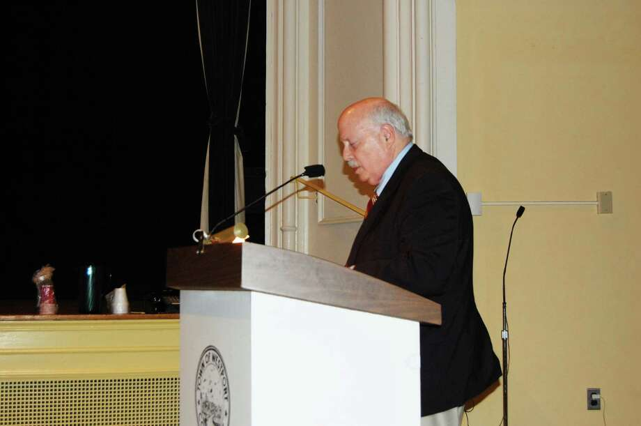 First Selectman Gordon Joseloff discusses a proposal to relocate the historic Kemper-Gunn house, which has stood on Church Lane since the 1880s, to the nearby town-owned Baldwin Parking Lot as an offshoot of the Bedford Square multi-use project propsed for the current site of the Westport Weston Family Y. Photo: Cameron Martin / Westport News