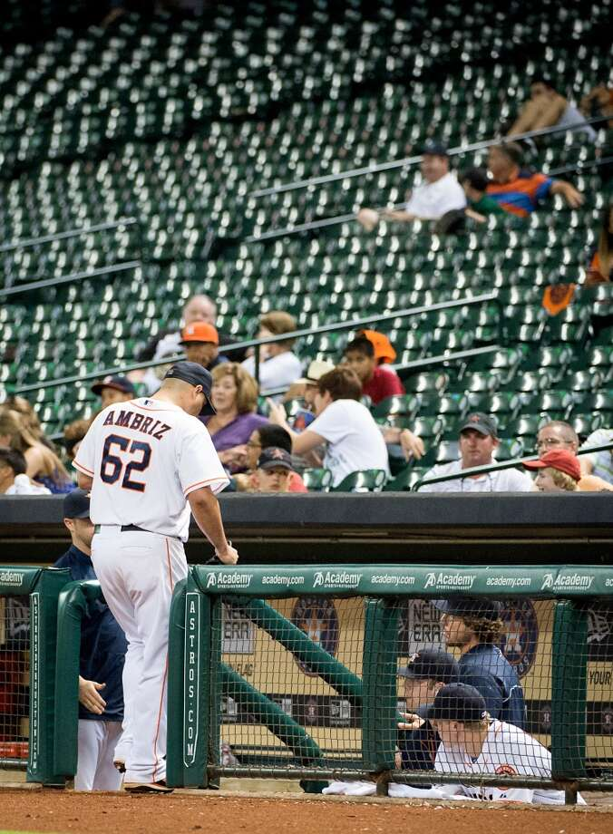 A sparse crowd was left to see Astros relief pitcher Hector Ambriz exit the game in the eighth inning.