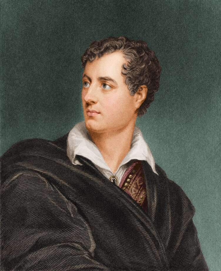 Colorized engraving shows a portrait of British poet and writer George Gordon, Lord Byron (1788 - 1824), early 1800s. (Photo by Stock Montage/Getty Images)