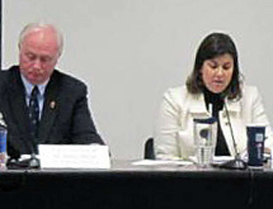 """The Board of Education, with Chairman Philip Dwyer and Vice Chairwoman Pam Iacono shown here, continues to be mired in controversy over """"pilot"""" use of an Algebra textbook and students' performance in that program during the recently completed academic year. Photo: File Photo / Fairfield Citizen"""
