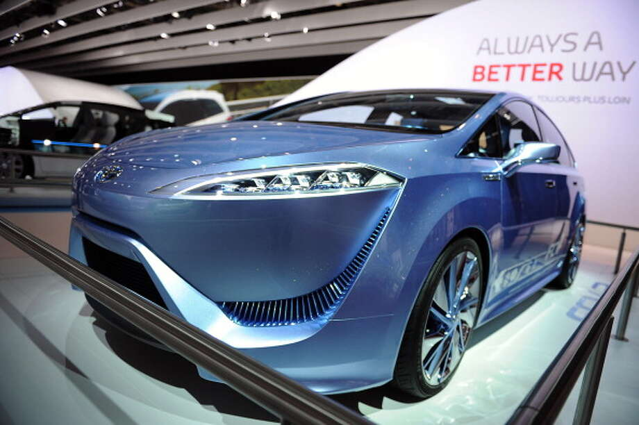 PARIS, FRANCE - SEPTEMBER 28:  A Toyota FCV-R concept car sits on display at the Paris Motor Show on September 28, 2012 in Paris, France. The Paris Motor Show runs September 29 - October 14.  The Paris Motor Show runs September 29 - October 14. Photo: Antoine Antoniol, Getty Images / 2012 Getty Images