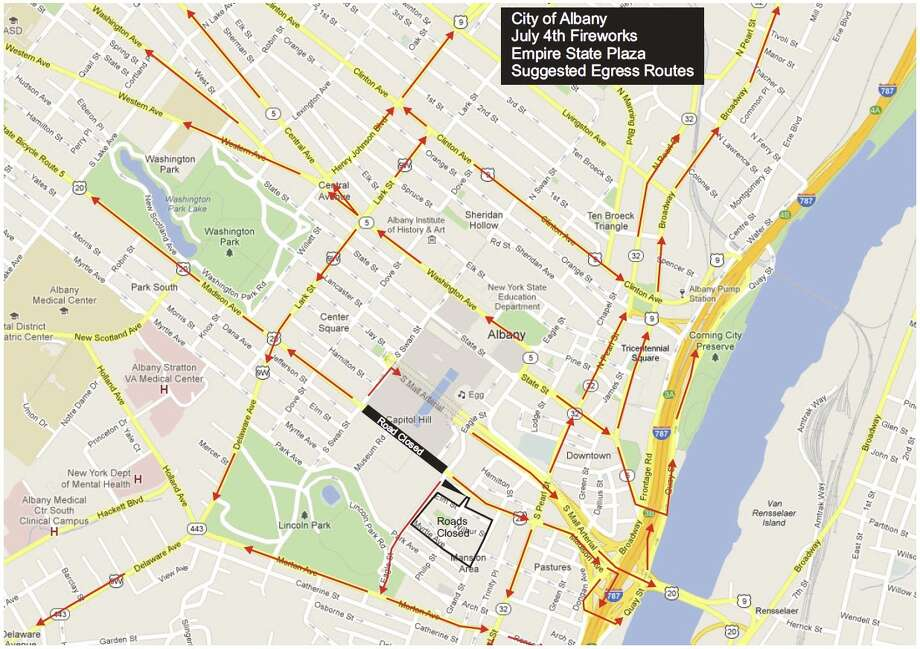 Albany police map of suggested routes home after July 4 fireworks at the Empire State Plaza. (Albany police)