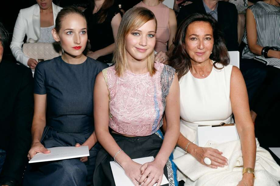 PARIS, FRANCE - JULY 01:  Actresses Leelee Sobieski and Jennifer Lawrence with Miss Sidney Toledano attend the Christian Dior show as part of Paris Fashion Week Haute-Couture Fall/Winter 2013-2014 at  on July 1, 2013 in Paris, France.  (Photo by Petroff/Dufour/Getty Images)