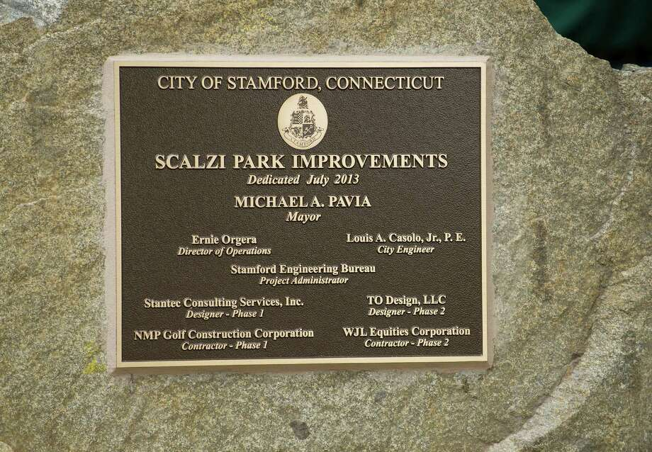 Scalzi Park during the ceremony for the completion of the park's renovation on Tuesday, July 2, 2013. Photo: Lindsay Perry / Stamford Advocate