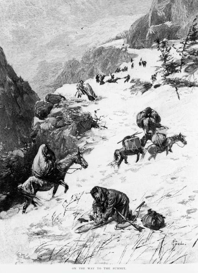 Illustration captioned 'On The Way To The Summit,' depicting the Donner Party, a group of California-bound American emigrants caught up in the 'westering fever' of the 1840s. After becoming snowbound in the Sierra Nevada in the winter of 1846/1847, some of them resorted to cannibalism. (Photo by Fotosearch/Getty Images). Photo: Fotosearch, Getty Images / Getty Images