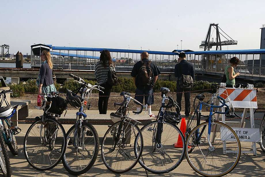 Free bicycle parking was offered by the city of Oakland to commuters at the Alameda ferry in Alameda, Calif.,  on Tuesday, July 2, 2013, to help in the commute as BART workers remains on strike. Photo: Liz Hafalia, The Chronicle