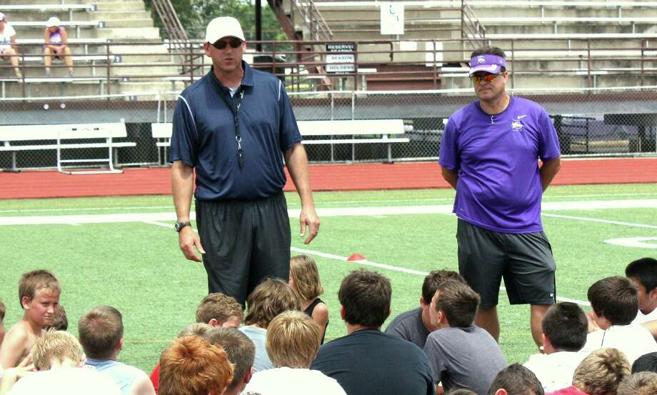 Boerne Champion head football coach Keith Kaiser, left, and Boerne head football coach Mike Dormady are pleased with their teams off-season training. Photo: Mike Reeder / For The Northwest Weekly