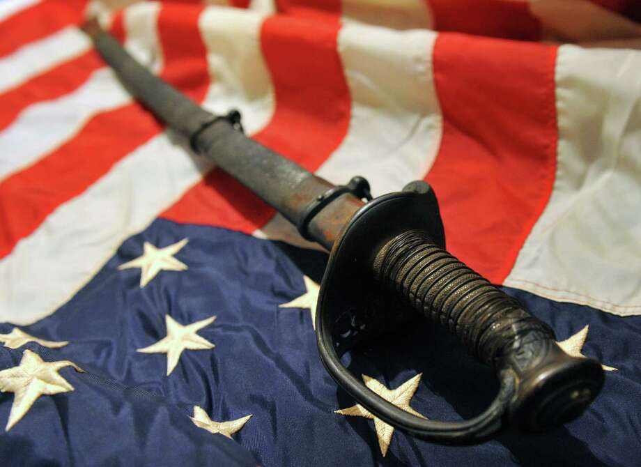 Danbury Union Lodge No. 40 AF&AM recently acquired a Civil War-era sword from a tag sale in Long Island.  The sword is an 1860 model infantry officer sword that belonged to Lodge No. 40 member James A. Betts. Photo: Tyler Sizemore / The News-Times
