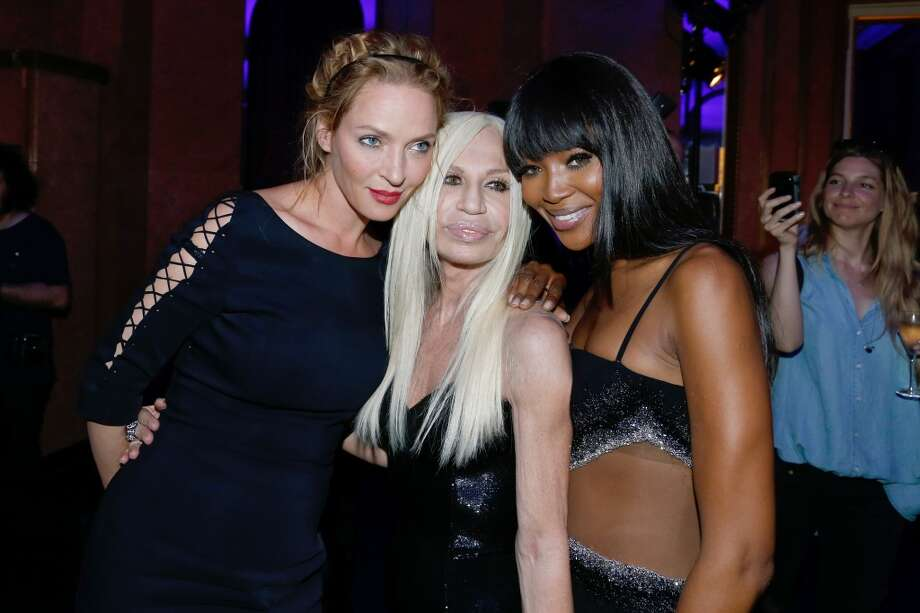 PARIS, FRANCE - JUNE 30:  (L-R) Uma Thurman, Donnatella Versace and Naomi Campbell backstage at Versace show as part of Paris Fashion Week Haute-Couture Fall/Winter 2013-2014 at  on June 30, 2013 in Paris, France.  (Photo by Bertrand Rindoff Petroff/Getty Images)