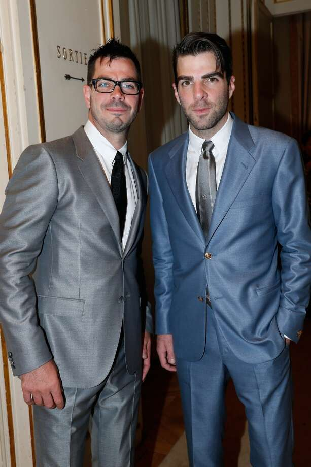PARIS, FRANCE - JUNE 30:  (L-R) Joe Quinto and Zachary Quinto attend the Versace show as part of Paris Fashion Week Haute-Couture Fall/Winter 2013-2014 at  on June 30, 2013 in Paris, France.  (Photo by Bertrand Rindoff Petroff/Getty Images)