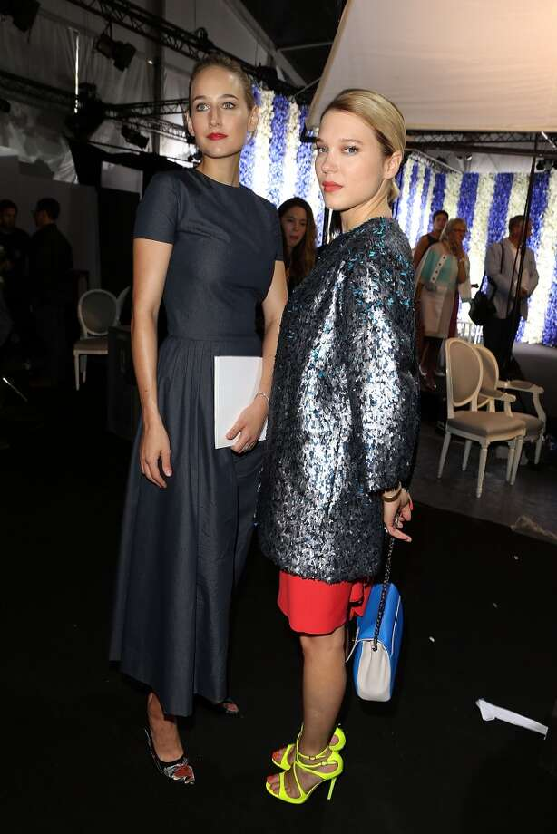 PARIS, FRANCE - JULY 01:  LeeLee Sobieski and Lea Seydoux attend in backstage after the Christian Dior show as part of Paris Fashion Week Haute Couture Fall/Winter 2013-2014 at Hotel Des Invalides on July 1, 2013 in Paris, France.  (Photo by Petroff/Dufour/Getty Images)