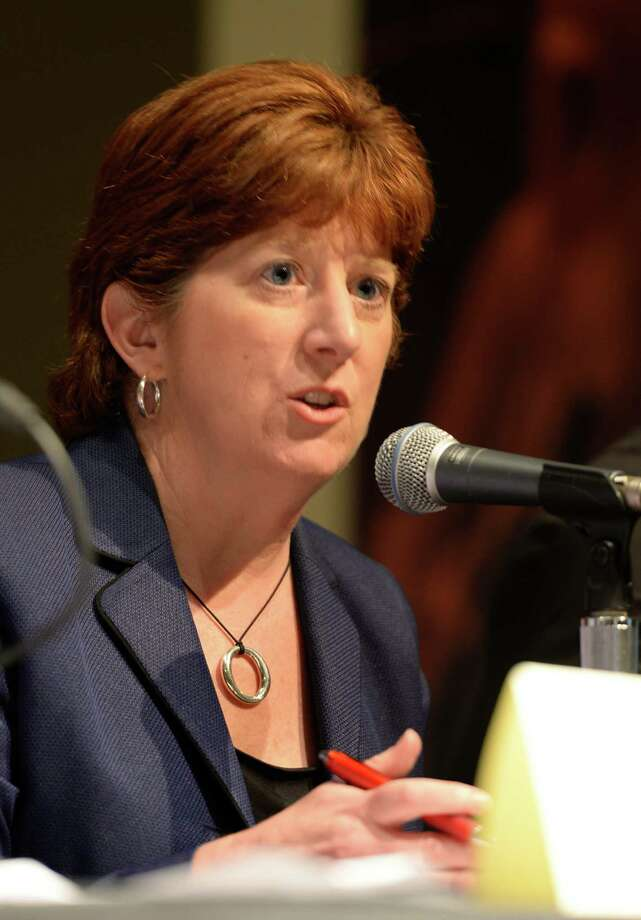 Mayoral candidate Kathy Sheehan  speaks at the 2013 Mayoral Forum on Sustainability July 2, 2013 at the Linda auditorium in Albany, N.Y.    (Skip Dickstein/Times Union archive) Photo: SKIP DICKSTEIN / 00022949A