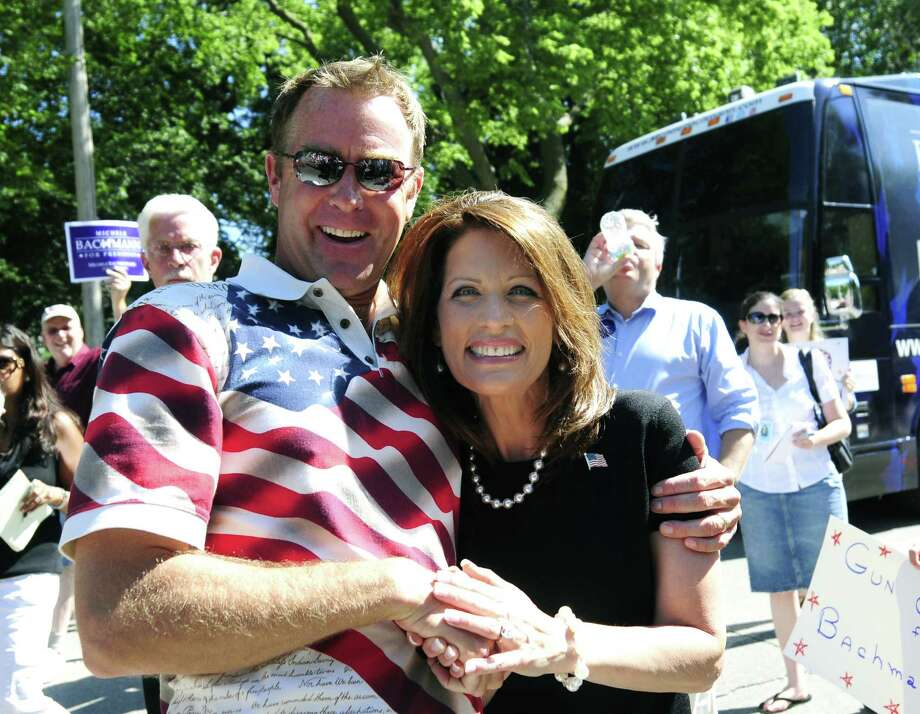2011 -- Republican presidential candidate U.S. Rep. Michele Bachmann is perfectly sensible, when compared to a flag shirt. Photo: Steve Pope, Getty Images / 2011 Getty Images