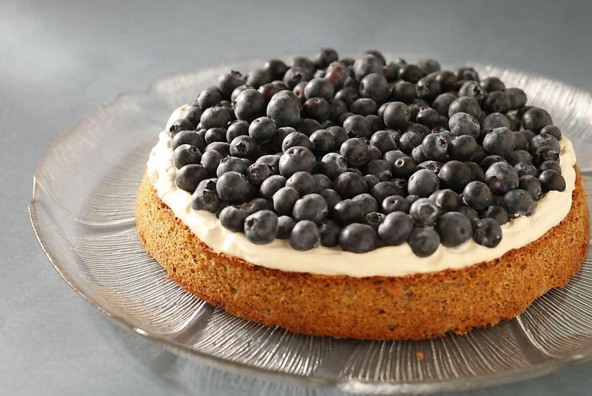 Hazelnut Torte With Blueberries & Coffee Cream as seen in San Francisco, California, on June 26, 2013. Food styled by Lynne Bennett.