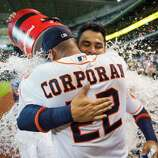 June 20: Astros 7, Brewers 4 (10 innings) Astros first baseman Carlos Pena is doused with water as he hugs teammate Carlos Corporan after hitting a three-run walk-off home run in the 10th inning. Record: 28-46.