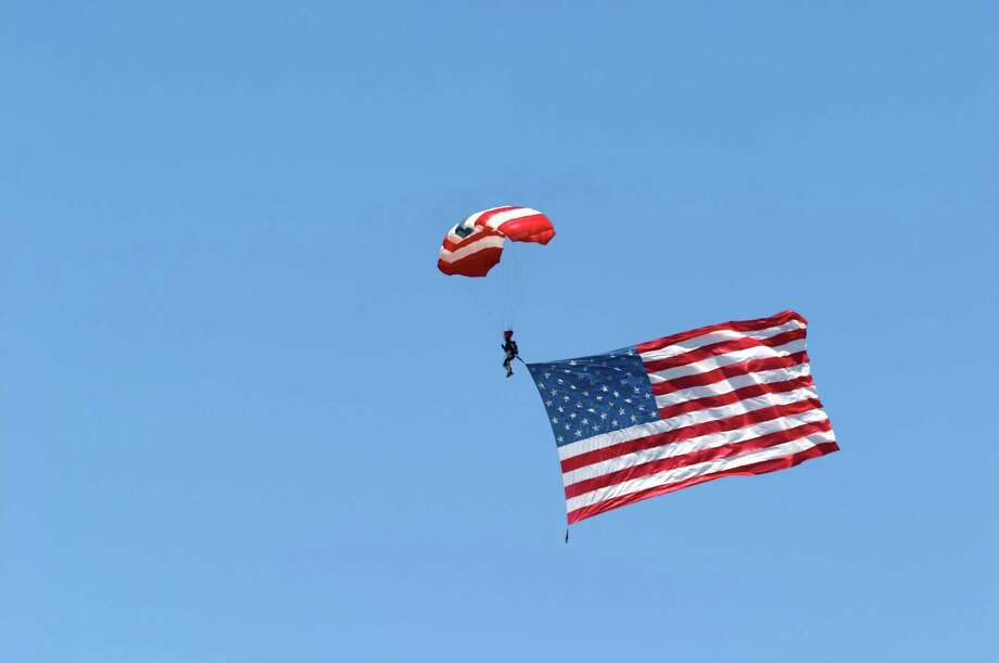2005 -- A skydiver, above, being dragged to the Earth by Old Glory. Photo: MyLoupe, Getty Images / ©Schwabel Photography ©Schwabel Photography