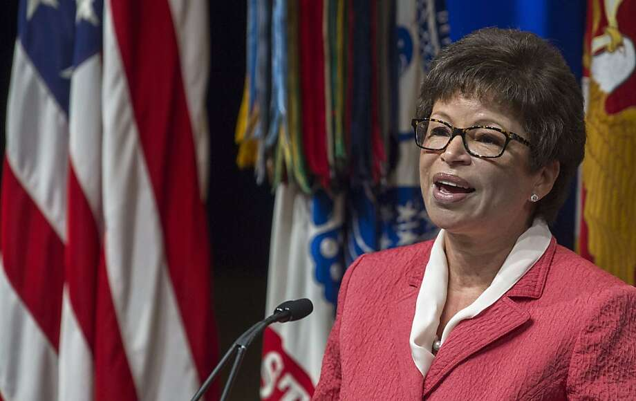 Valerie Jarrett, Senior Advisor to US President Barack Obama, delivers remarks during the 2013 Lesbian Gay Bisexual Transgender Pride Month Ceremony at the Pentagon Auditorium June 25, 2013 in Washington, DC.    AFP Photo/Paul J. RichardsPAUL J. RICHARDS/AFP/Getty Images Photo: Paul J. Richards, AFP/Getty Images