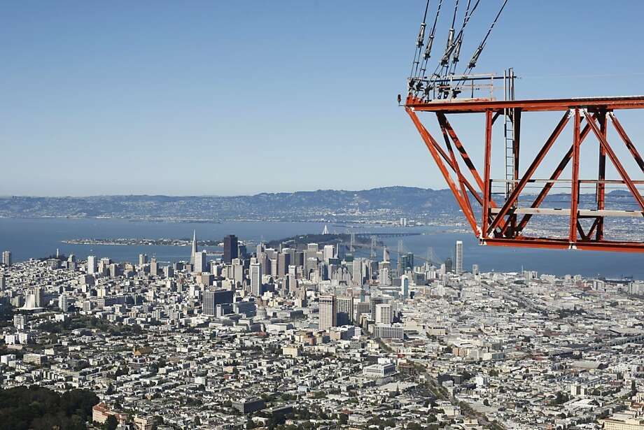 Sutro Tower, with its pinnacle at 1,811 feet, is San Francisco's highest point. This view from the top shows a bit of the tower. Photo: Pete Kiehart, The Chronicle