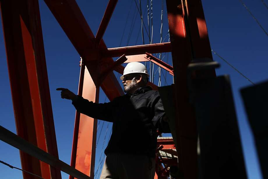 It's high time for reporter Carl Nolte to take a 40th-anniversary walk on the steel beams at Sutro Tower's pinnacle. Photo: Pete Kiehart, The Chronicle