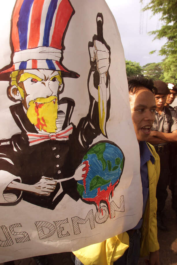 1999 -- In Indonesia, Uncle Sam is a blonde. Photo: Agus Sutedjo, Getty Images / Getty Images North America