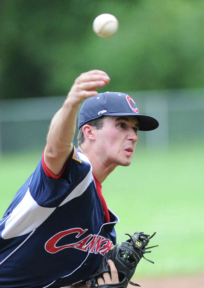 Greenwich Cannons pitcher Dylan Callahan throws against Norwalk in Senior Legion baseball at Greenwich Country Day School, Tuesday, July 2, 2013. Greenwich won the game 2-0 as Callahan pitched a complete game shutout. Photo: Bob Luckey / Greenwich Time