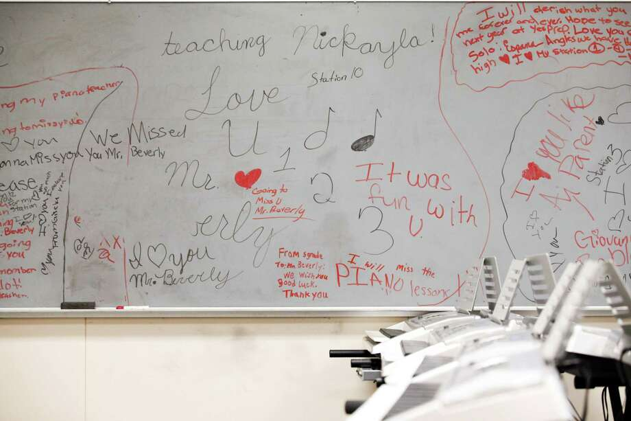 A board inside a music education class has messages left by former students as HISD takes over North Forest ISD's Fonwood Elementary School, July 2, 2013 in Houston. Photo: Eric Kayne, For The Chronicle / ©2013 Eric Kayne