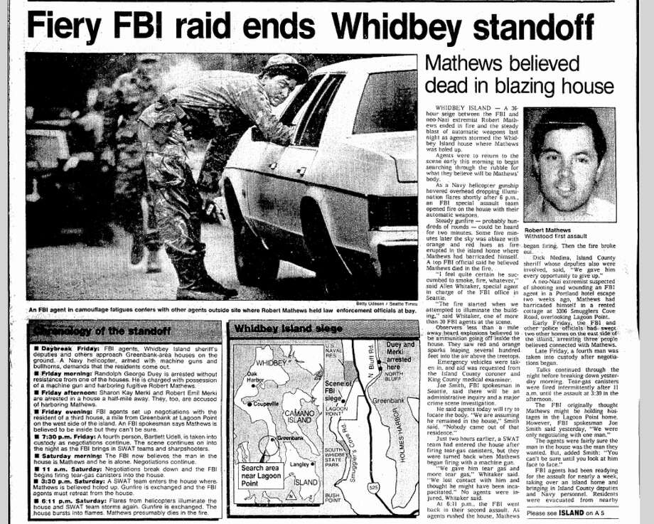 In 1984, you didn't have to go to northern Idaho to witness a fiery shootout with white supremacists.