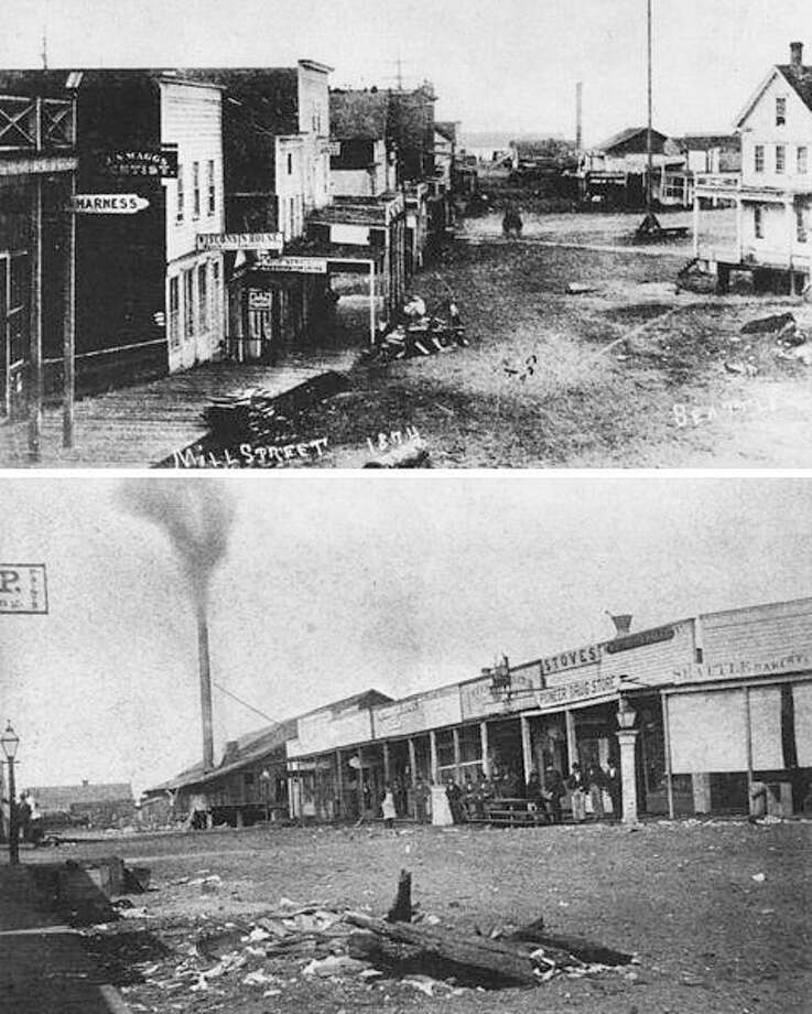 """OK, on to the just plan seedy part … Seattle very likely had the first Skid Row – it had started as Skid Road.Historylink:In the mid-1800s, the term Skid Road was commonly applied to logging camps throughout the region. The area around Yesler's Mill may have acquired this nickname by such association. The phrase was not popularized until the early 20th century, when crusading local prohibitionist Rev. Mark Matthews (1867-1940) invoked Skid Road to condemn the saloons and brothels clustered in an all-but-official vice district south of Yesler Way. In later usage, Skid Road morphed into """"Skid Row"""" to denote any derelict urban neighborhood -- and Pioneer Square definitely qualified between the Great Depression and its restoration in the 1970s. Wikimedia Commons Photos: The original """"Skid Road"""" (Mill Street, now Yesler Way) in Seattle. The top image: View looking west to Yesler's Mill at the end of the street (see smokestack) and nearby cookhouse. The tall pole in the road on the right is where the Pioneer Square pergola stands today. The bottom image: Yesler's Mill, stores, and taverns on Skid Road."""