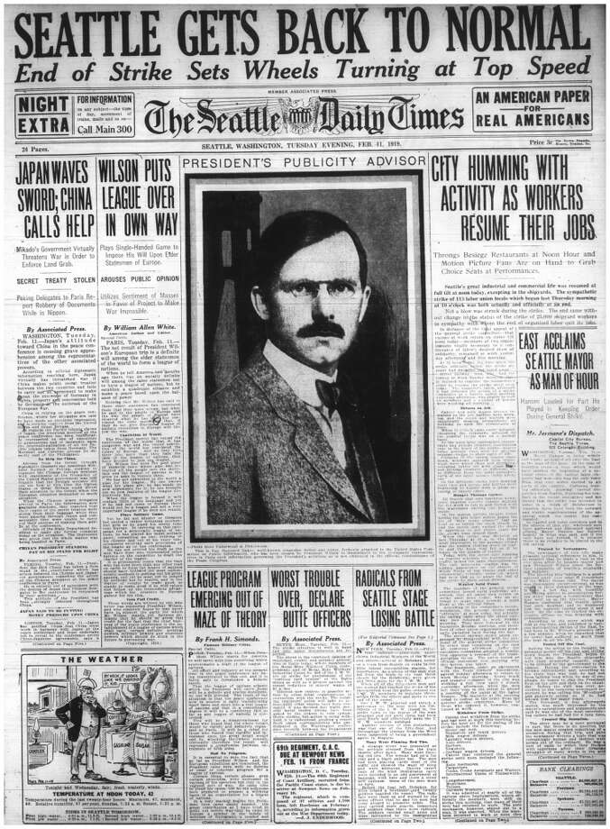 Seattle's February 1919 general strike lasted five days and involved more than 65,000 workers. Seattle Mayor Hanson had federal troops available and stationed 950 sailors and marines across the city by Feb. 7. He added 600 men to the police force and hired 2,400 special deputies -- students from the University of Washington, for the most part.