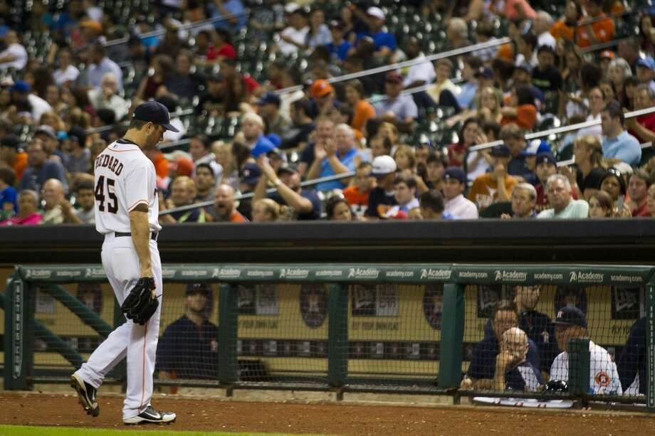 July 2: Rays 8, Astros 0Astros pitcher Erik Bedard left the game against the Rays during the sixth inning.