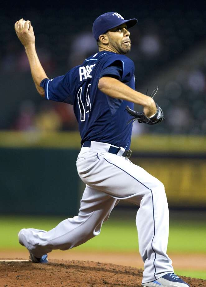 Rays pitcher David Price delivers a throw to the Astros.