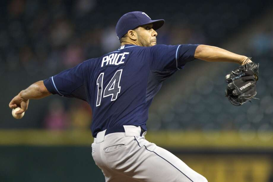 Rays pitcher David Price makes a throw to the Astros.