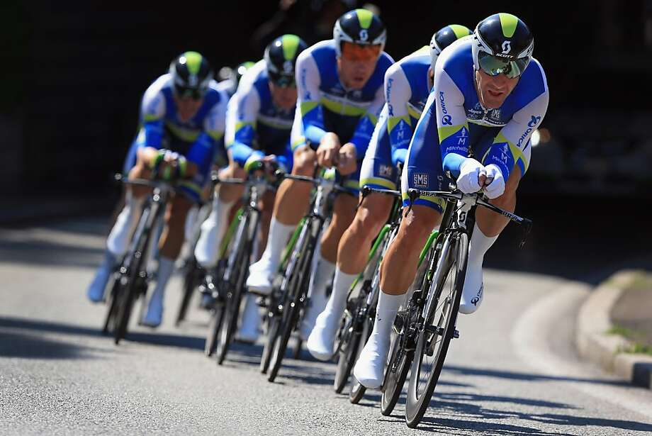 NICE, FRANCE - JULY 02:  Svein Tuft of Canada leads Team Orica-GreenEdge in team time trial during stage four of the 2013 Tour de France, a 25KM Team Time Trial on July 2, 2013 in Nice, France. Orica-GreenEdge won the stage and Simon Gerrans of Australia earned the overall race leader's yellow jersey. (Photo by Doug Pensinger/Getty Images) Photo: Doug Pensinger, Getty Images