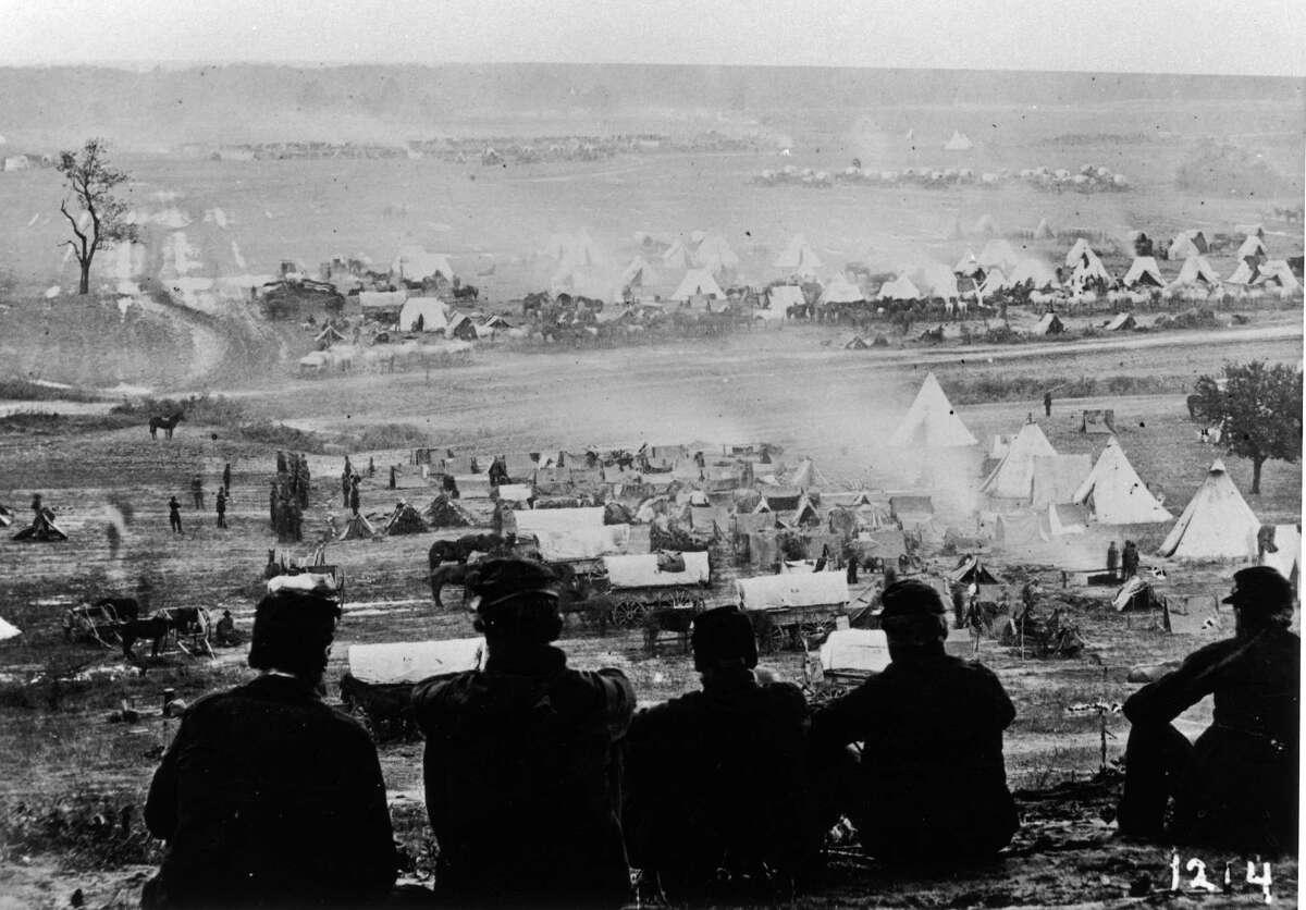Union soldiers at Cumberland Landing, not far from Richmond, Virginia, USA, circa 1861.