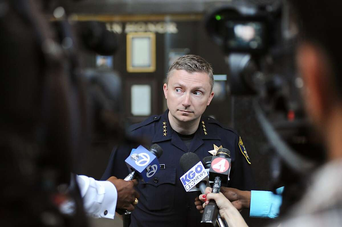 During a press conference at OPD headquarters in Oakland, CA Tuesday July 2nd, 2013, Oakland Police Chief Sean Whent briefs the media about the recent arrest of a suspect in connection with the early morning double homicide that occurred on Lake Park Ave. near Lake Merritt.