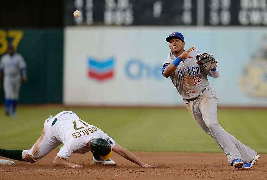 OAKLAND, CA - JULY 02:  Starlin Castro #13 of the Chicago Cubs gets his throw off but not in time to complete the double play while avoiding the slide of Adam Rosales #17 of the Oakland Athletics in the second inning at O.co Coliseum on July 2, 2013 in Oakland, California.  (Photo by Thearon W. Henderson/Getty Images) Photo: Thearon W. Henderson, Getty Images