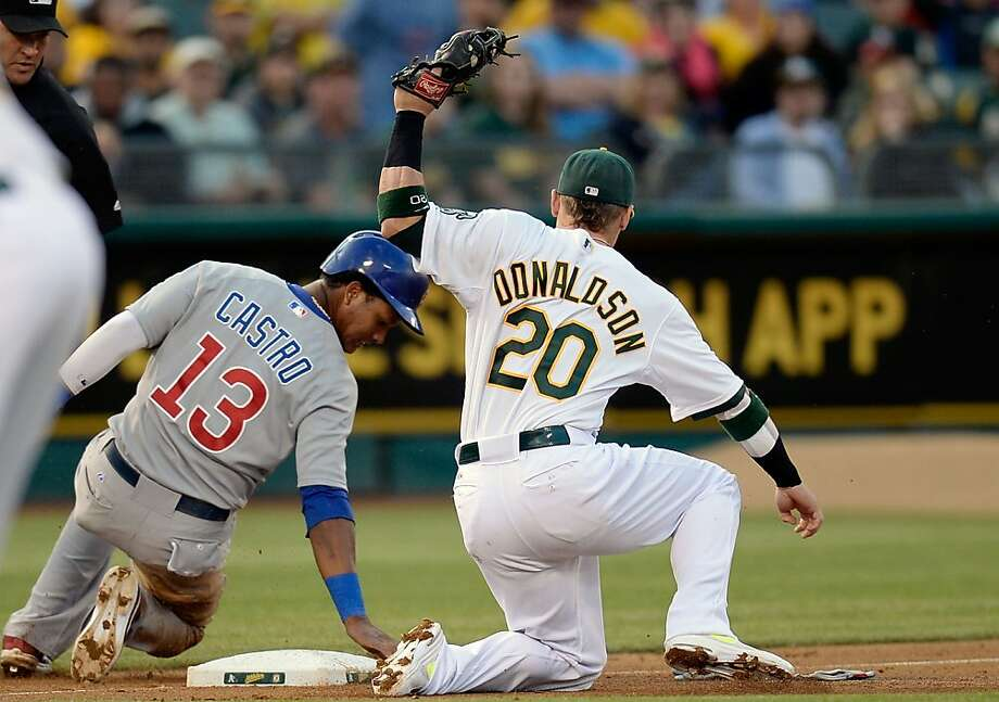 OAKLAND, CA - JULY 02:  Starlin Castro #13 of the Chicago Cubs slides in safe at third base beating the tag of Josh Donaldson #20 of the Oakland Athletics in the fourth inning at O.co Coliseum on July 2, 2013 in Oakland, California. Castro went from second to third on a pass ball.  (Photo by Thearon W. Henderson/Getty Images) Photo: Thearon W. Henderson, Getty Images