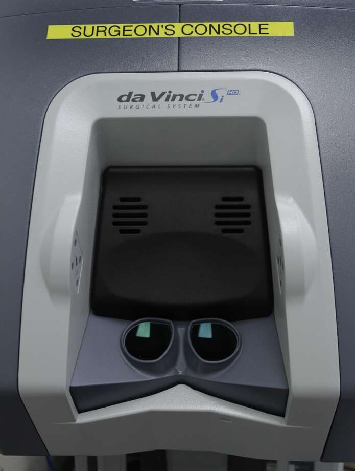 The remote console used by doctors performing oral surgery using the DaVinci surgical robot is seen at Stanford Medical Center in Stanford, Calif. on Friday, June 28, 2013.