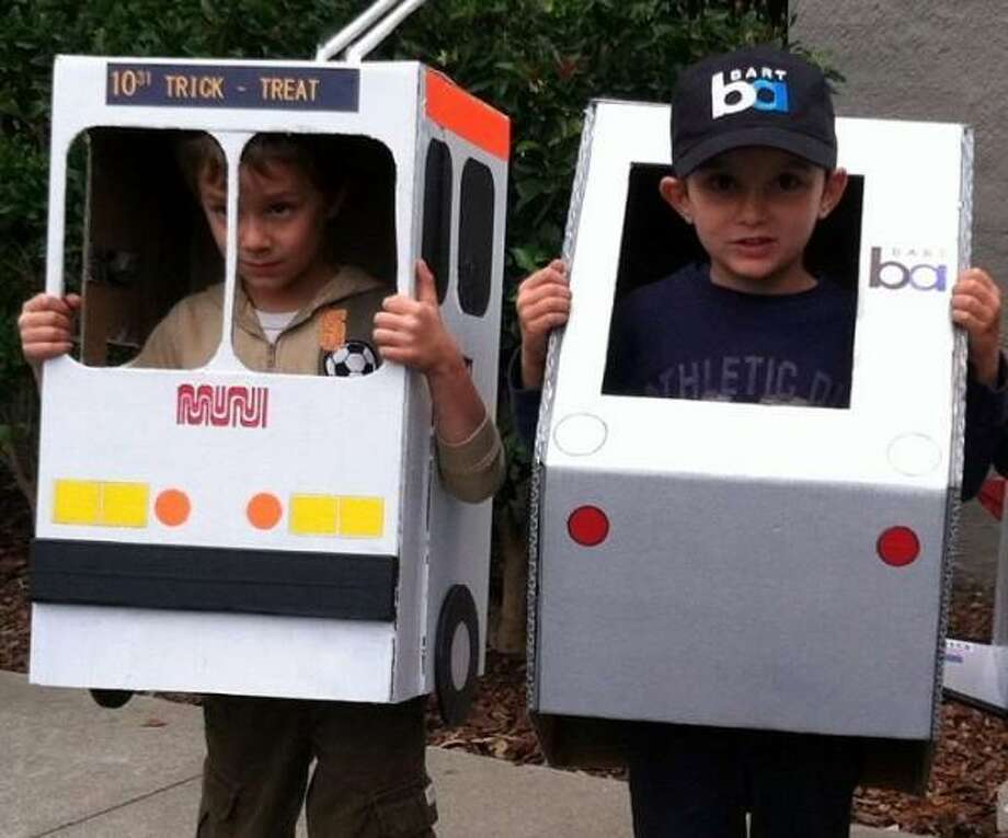 BART and Muni: Unlikely Trick or Treat partners who worked together for the greater good. Props to dad for the excellent accuracy with the Muni and Bart logos.