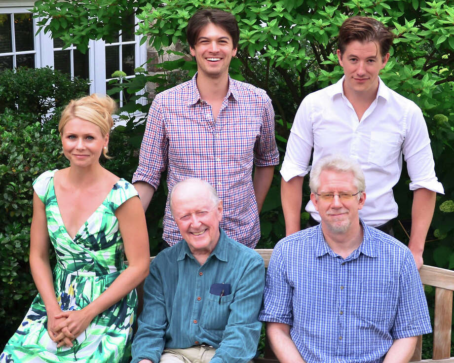 """The Joe Orton black comedy """"Loot"""" is being presented at the Westport Country Playhouse from July 16 through August 3. The cast includes (top, from left) Devin Norik, Zach Wagner (seated, from left) Liv Rooth, John Horton, David Manis. Photo: Contributed Photo / Connecticut Post Contributed"""