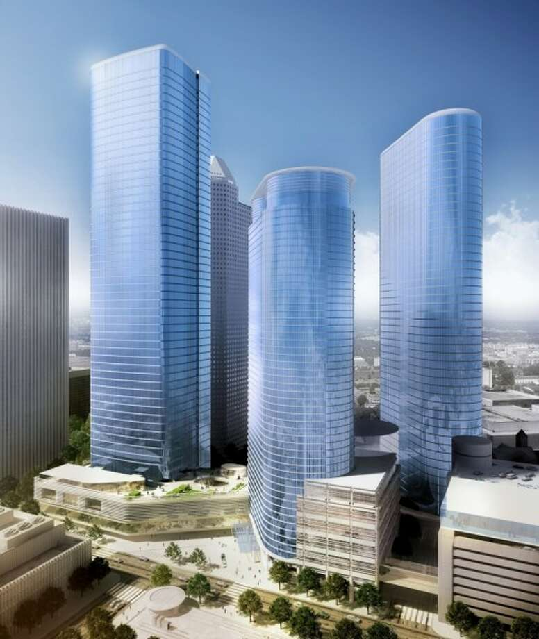 A rendering showing a new tower planned for Chevron. The downtown skyscraper project has been put on hold.