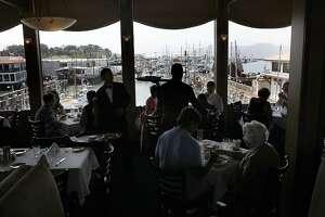 A view of the harbor from Alioto's dining room at Fisherman's Wharf in San Francisco, Calif., on Tuesday, July 2, 2013.