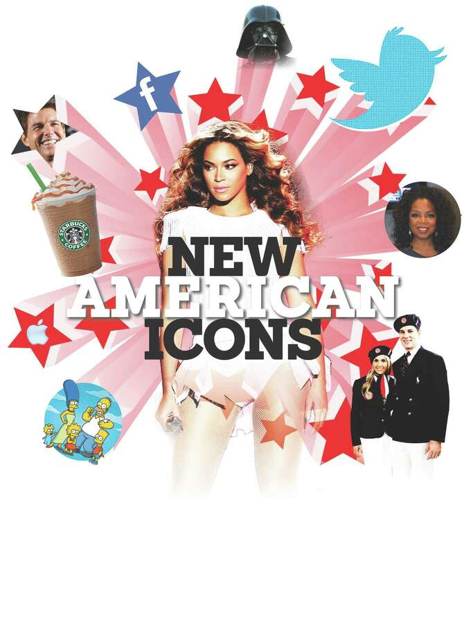 "New American icons include actor Tom Cruise (clockwise from upper left), Facebook, Darth Vader, the Twitter bird, Oprah Winfrey, U.S. Olympic uniform designer Ralph Lauren (uniforms worn by 2012 Olympians Heather Mitts and Tim Morehouse), pop singer Beyoncé, ""The Simpsons,"" Apple computers and  Starbucks. Photo: Photo Illustration By Joaquin L. Herrera And Imelda B. Robles, San Antonio Express-News; Getty Images,  Courtesy And File Photos"