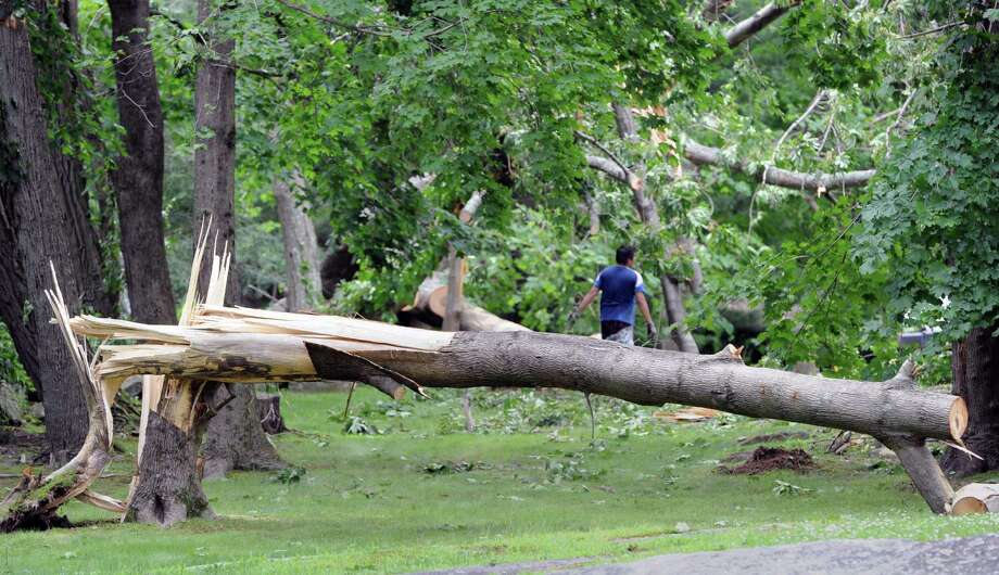 A damaged tree on a Taconic Road property caused by a tornado that touched down in the Greenwich backcountry Monday morning, as seen Wednesday, July 3, 2013. The National Weather Service said the EF0 tornado touched down late Monday morning creating a 3.7 mile-long path between Greenwich and Stamford. Photo: Bob Luckey / Greenwich Time