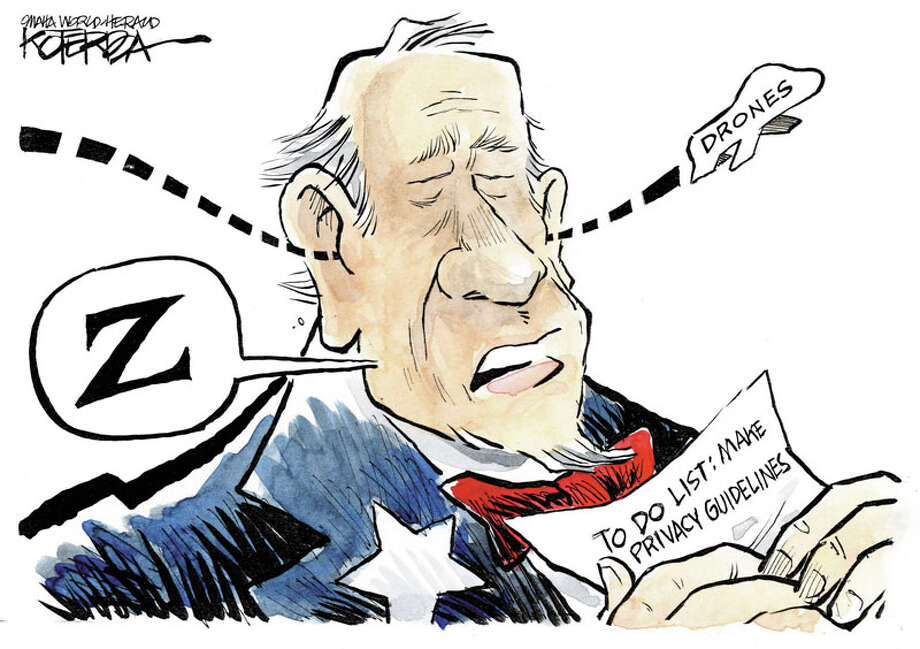 "Today's editorial cartoon by Jeff Koterba is titled ""Drones."" Photo: Jeff Koterba Omaha World-Herald"