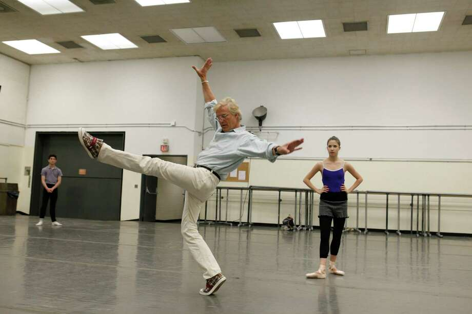 Peter Martins rehearsing Erica Pereira and Anthony Huxley, New York City Ballet rehearsal. (Credit Photo: c.Paul Kolnik Studio) Photo: Paul Kolnik / ©2010 Paul Kolnik