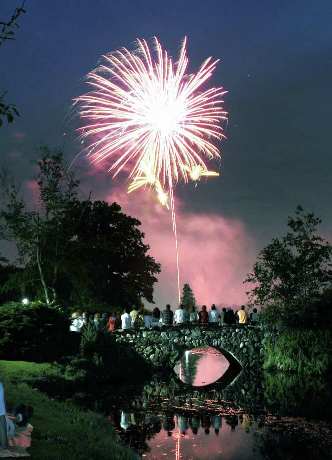 A scene from last year's fireworks display at Binney Park. This year's fireworks displays will be held at Binney and Greenwich Point Park on Saturday, July 6, with a rain date of Sunday, July 7. Rules for resident beach passes apply and it is recommended that anyone planning to attend either display arrive early. Photo: Bob Luckey / Greenwich Time