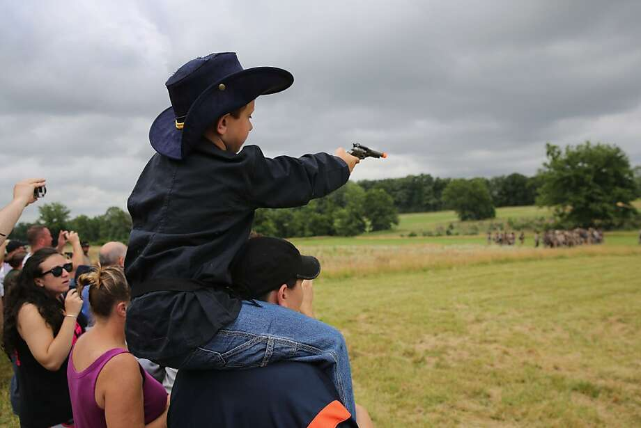 Here comes the cavalry:Worried that the reenacted Battle of Gettysburg is going poorly for the North, 6-year-old 